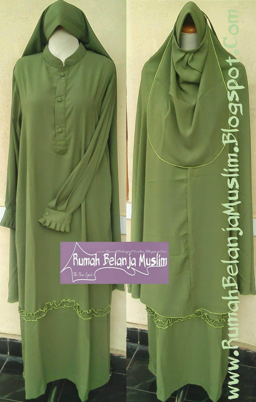 gamis syar'i hijau lumut muda