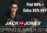 Myntra : Never Before Sale on Jack & Jones Clothing & Footwear: Flat 60% + Extra 35% OFF