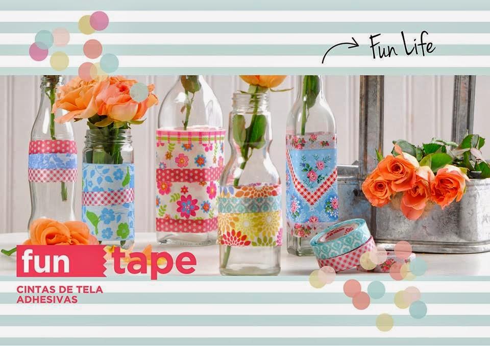 botellas decoradas fun tape cintas adhesivas de tela