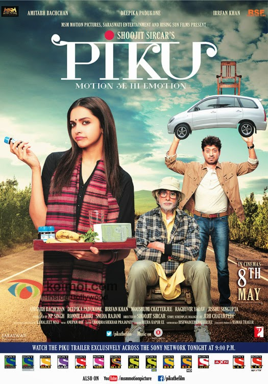 full cast and crew of bollywood movie Piku wiki, story, poster, trailer ft Amitabh Bachchan, Deepika Padukone, Irrfan Khan