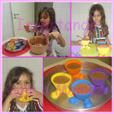 Crianças na cozinha fazendo cupcake de chocolate