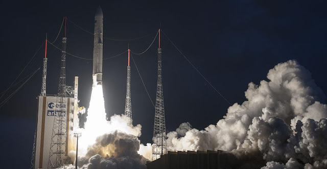 The last weather satellite in Europe's highly successful Meteosat Second Generation (MTG) series lifted off on an Ariane 5 launcher at 21:42 GMT (23:42 CEST) on 15 July from Europe's Spaceport in Kourou, French Guiana. The MSG satellites provide full-disc images over Europe and Africa every 15 minutes and 'rapid scan' imagery over Europe every five minutes. They are operated by Eumetsat – the European Organisation for the Exploitation of Meteorological Satellites – and ESA is responsible for their design, development and in-orbit delivery. Credit: ESA/CNES/ARIANESPACE-Optique Video du CSG, S. Martin