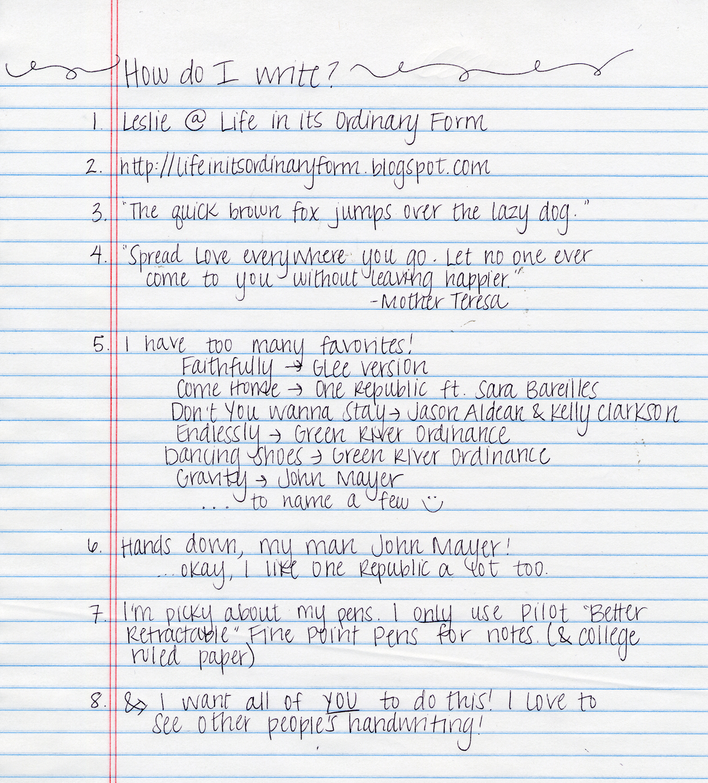 Teenage girl handwriting