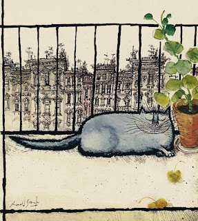 illustration by british illustrator Ronald Searle of a fat cat sleeping on a balcony