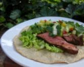 Beef Tacos with Cucumber Avocado Mango Salsa