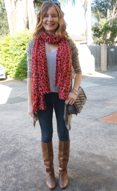 awayfromblue casual SAHM playgroup outfit print mixing leopard scarf brown cardi skinny jeans boots