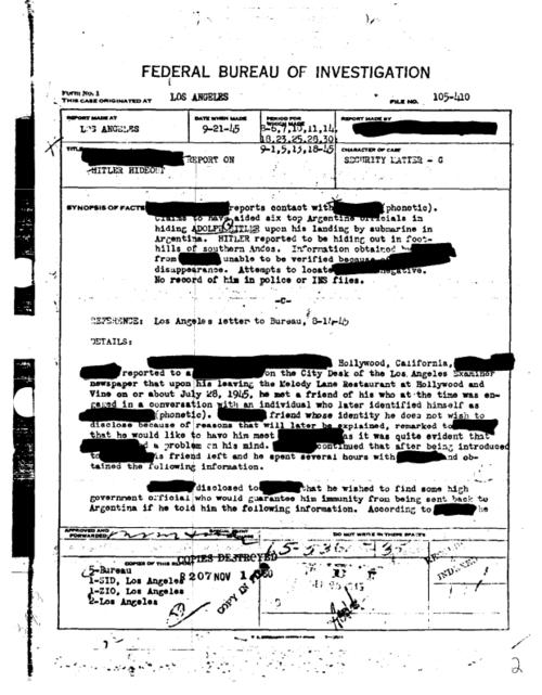 hitlerfile - Documentos desclasificados del FBI demuestran que Hitler huyó a Argentina