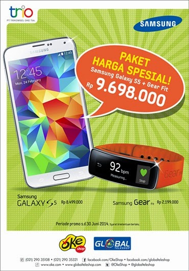 Bundling Samsung Galaxy S5 dengan Galaxy Gear Fit di OkeShop