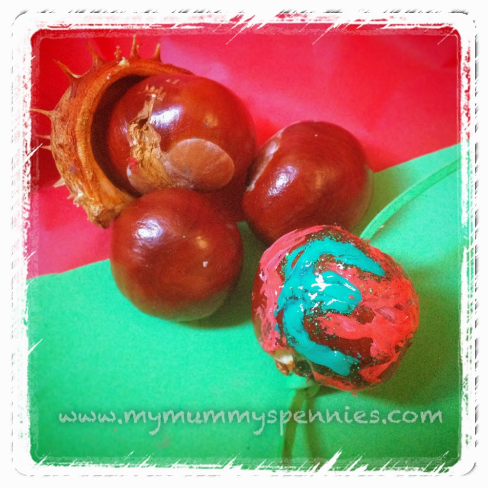 painted conker baubles - christmas craft