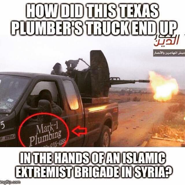 ISIS has texas plumber's truck?
