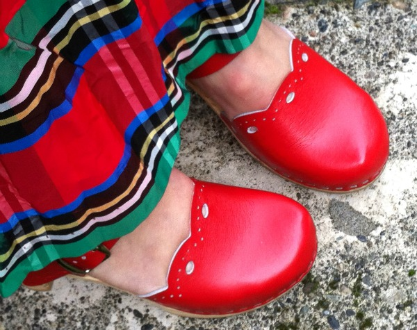 Street Feet: Red Swedish Clogs