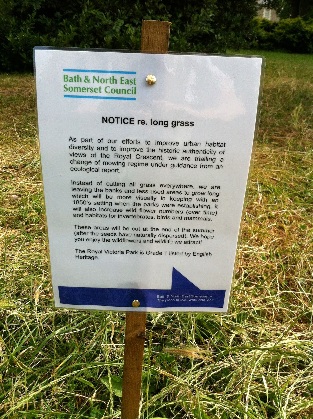 Notice about long grass, Royal Victoria Park Bath