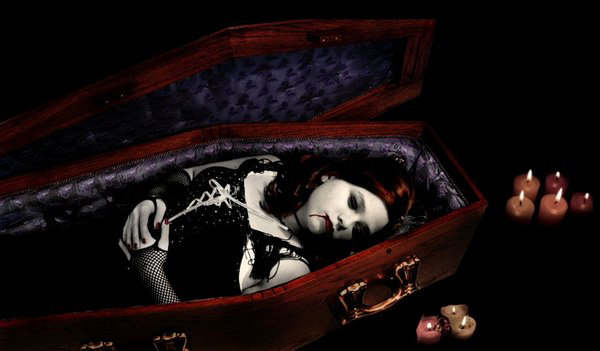 vampire girl in a coffin vampire art