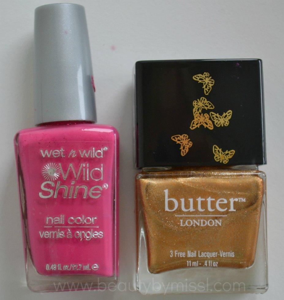 nail polishes, pink, gold,