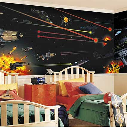 Star war wallpaper star wars bedroom for Decoracion de cuarto star wars