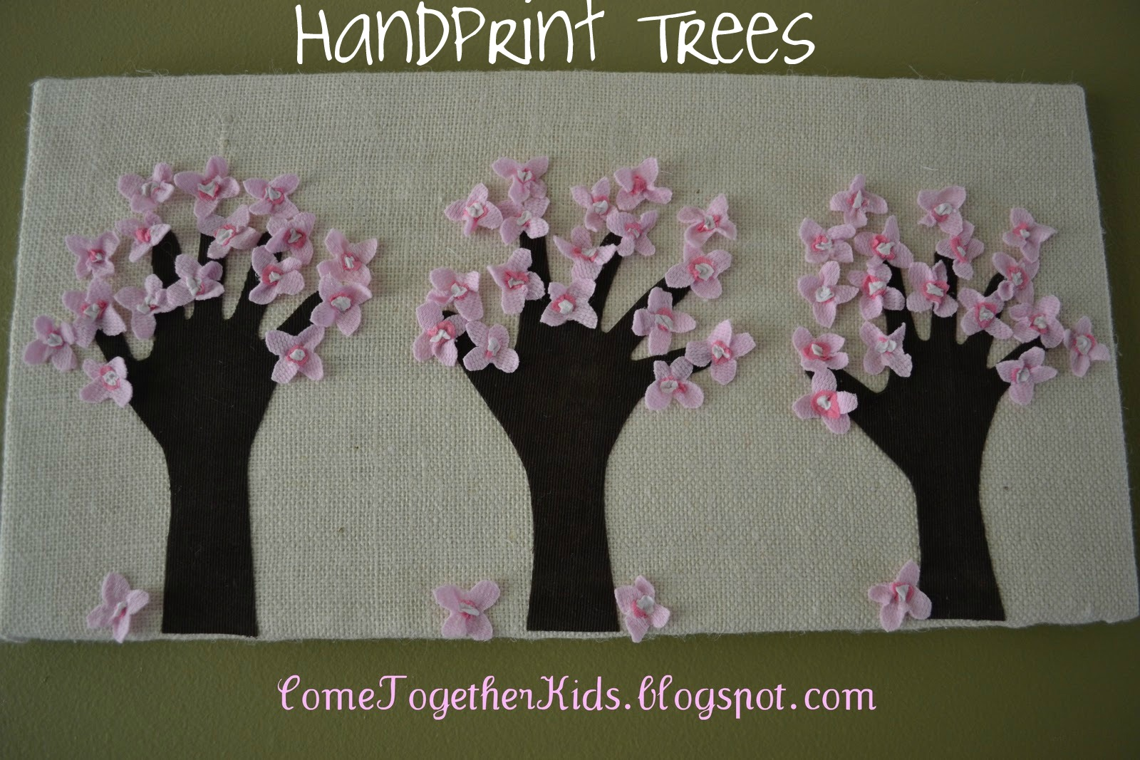 Come together kids handprint trees wrapped canvas