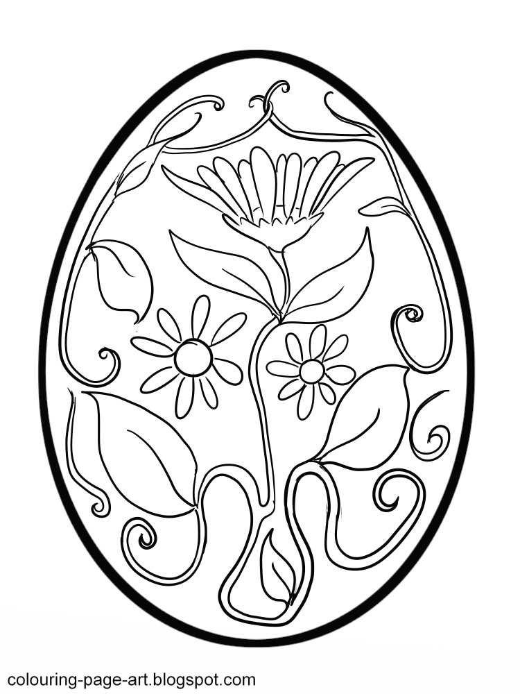Flower Power Easter Egg Colouring Page