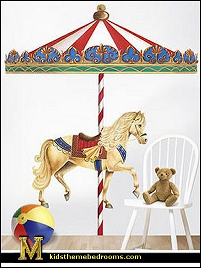 Decorating theme bedrooms maries manor carousel theme for Carousel wall mural