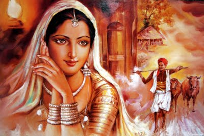 Rajasthani Girls Art Paintings 1