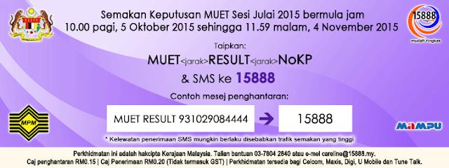 keputusan result muet julai 2015