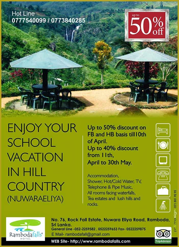 Come to Ramboda Falls Hotel in Nuwara Eliya to enjoy a true getaway from everyday life. This Nuwara Eliya hotel provides an escape that is set in lush verdant surroundings with waterfalls in the foreground and in the background misty mountains carpeted by dense tea bushes just waiting to be explored.  The town's cool climate brings relief from heat and humidity rejuvenates the body while the beautiful surroundings relax the mind. So sit back and sip a cup of Ceylon Tea as you enjoy Sri Lanka's hill country from the comfort of the Ramboda Falls Hotel.