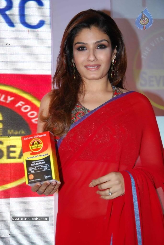  Raveena Tandon Red Saree - Hot1 -  Raveena Hot In Red Saree 