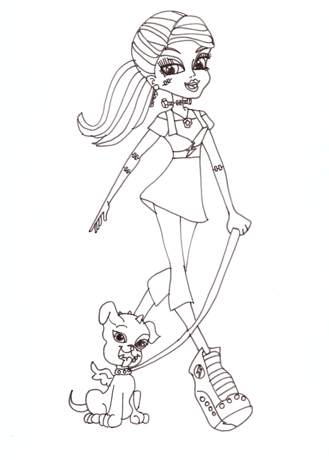 Free Printable Monster High Coloring Pages Frankie Stein With Watzit Coloring Sheet