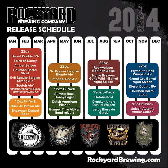Rockyard Brewing 2014 Beer Release Schedule