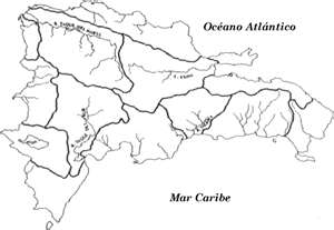Mapa de República Dominicana, distritos hidrográficos