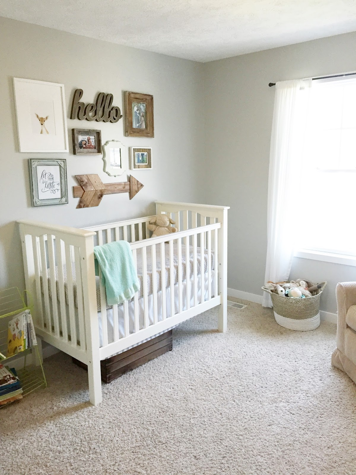 Gender neutral nursery reveal the girl in the red shoes for Simple nursery design