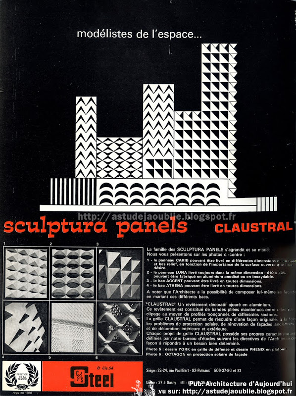 Publicité - Sculptura Panels - Claustral - 1970