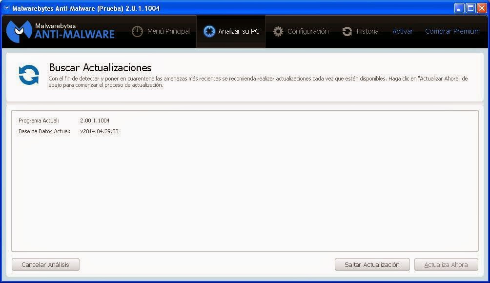 Actualizar base de datos Malwarebytes
