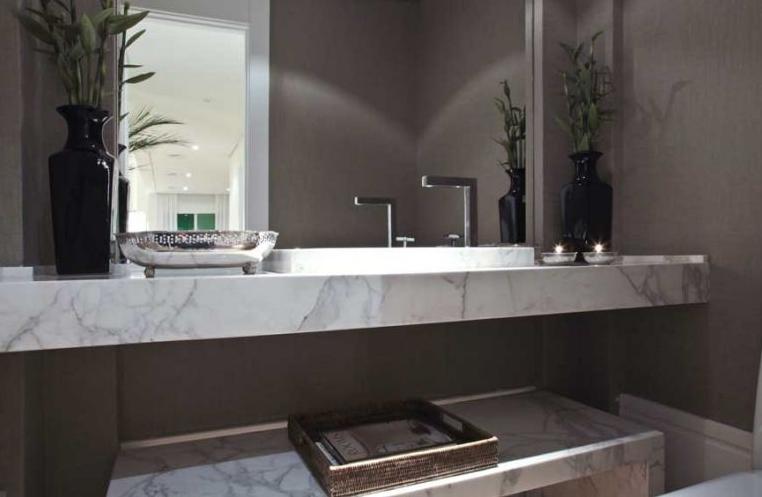 Mármore em lavabos e banheiros – veja bancadas e pisos com diversos tipos de  -> Banheiro Moderno Marron