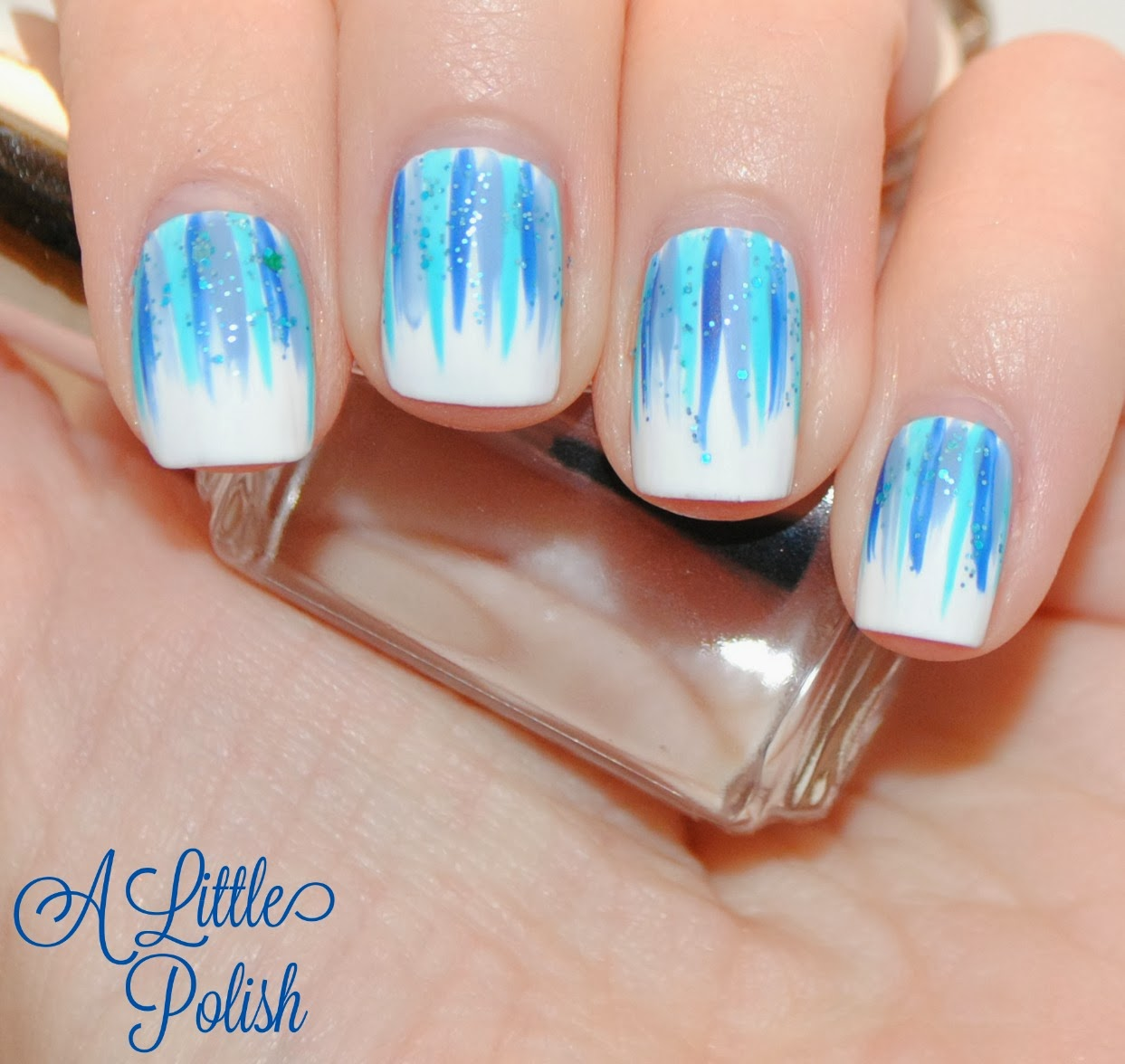 A Little Polish Blue Babyshower Waterfall Mani