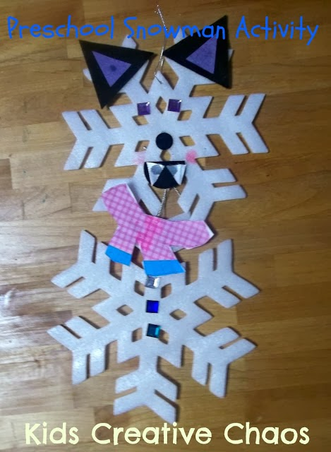 Easy preschool snowflake snowman