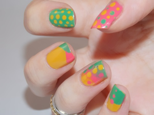 nail art essie mojito madness green pink yellow blog beauté psychosexy