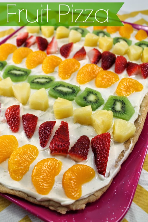 Fruit Pizza - sugar cookie crust, cream cheese frosting, and fresh fruit!