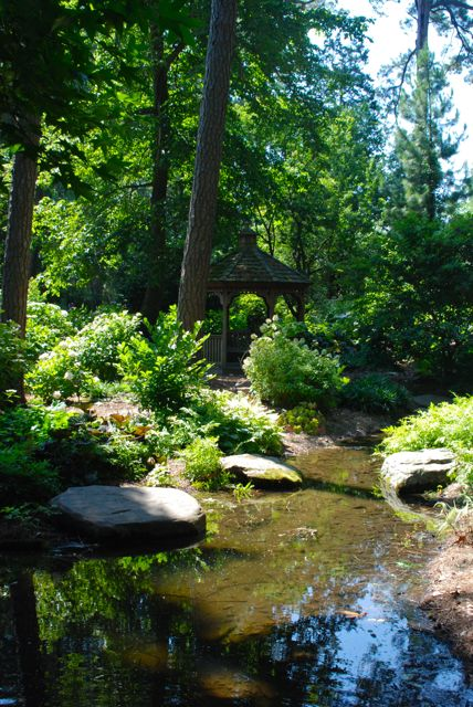 A stream through the hydrangea gardens adds some needed cooling water.