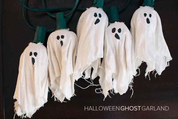 Puppy love preschool easy halloween ghost garland tutorial - Diy halloween ghost decorations ...