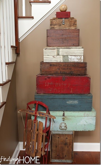 Stacked toolbox and crate Christmas tree, by Finding Home featured on Funky Junk Interiors