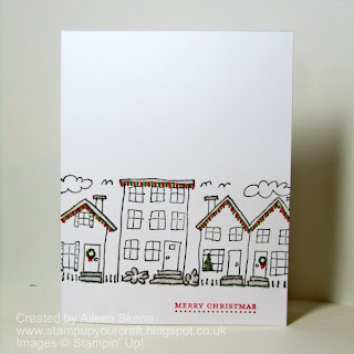 Stampin Up Wheel Neighbourhood houses with drawn Christmas lights and glitter for snow