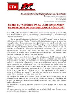 """SOBRE EL """"ACUERDO PARA LA RECUPERACIÓN DE DERECHOS DE LOS EMPLEADOS PÚBLICOS"""""""