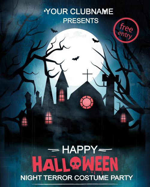 Cartel de Halloween negro azulado y rojo