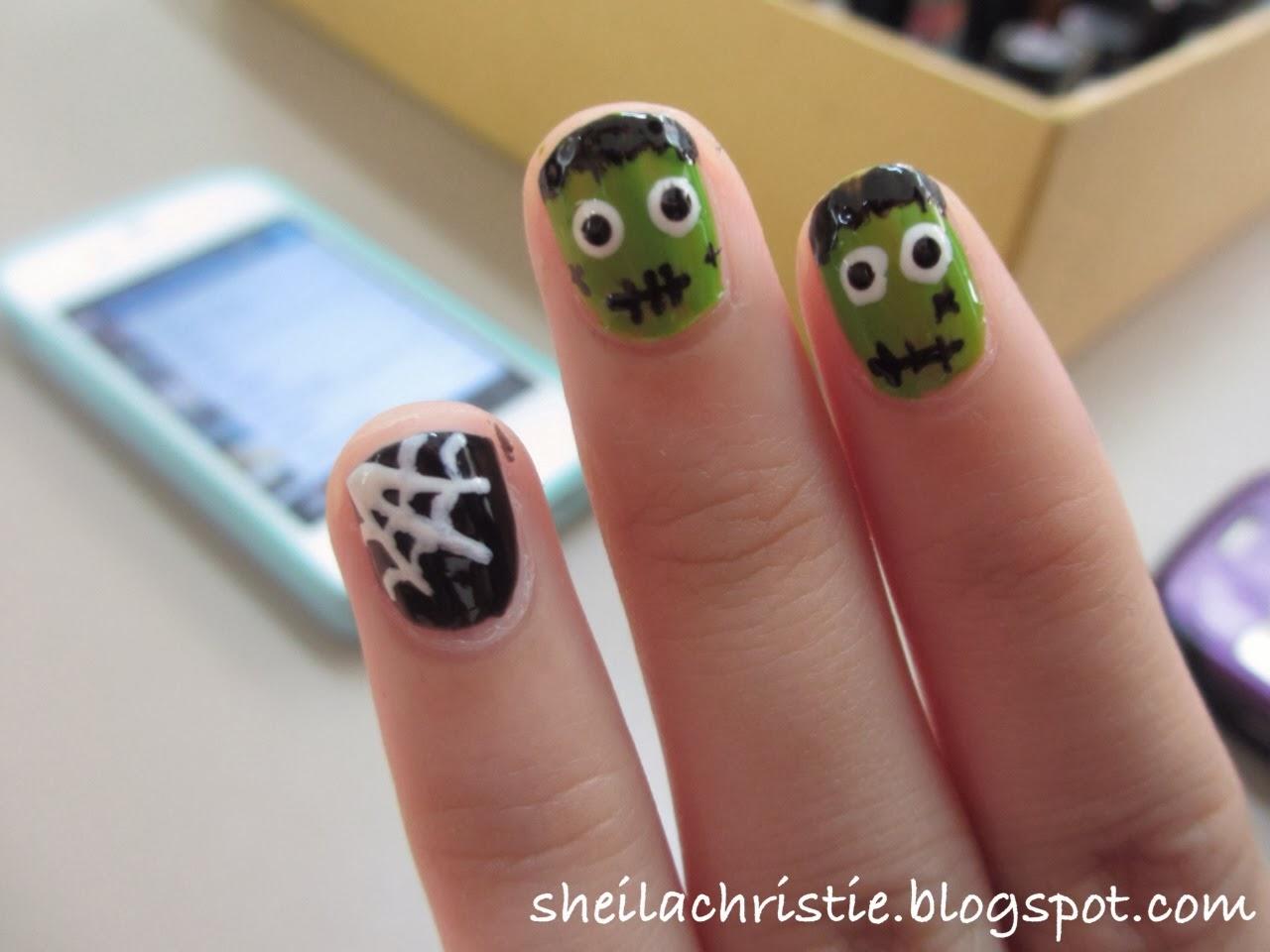 Frankenstein And Spider Web Nails Halloween Nails Glamoflage