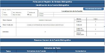 Ficha para el registro de una sístesis bibliográfica