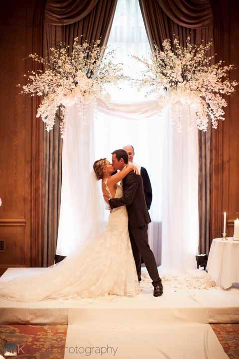 wedding ceremony arch, luxury wedding Fairmont Olympic Hotel, best Seattle wedding flowers