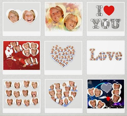 montagem de fotos em forma de coração no site Photovisi