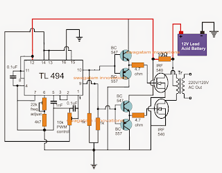 electronic circuit projects tl494 ic based pwm modified sine wave inverter circuit