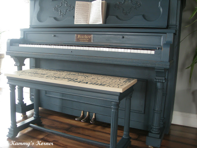 Painted piano with subway styled bench by Kammy's Korner, featured on I Love That Junk