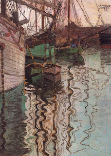 Boats on Ruffled Water, by Egon Schiele.